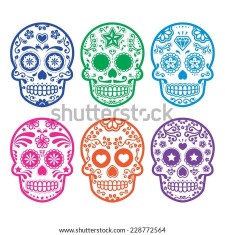 Mexican sugar skull, Dia de los Muertos icons set  - stock vector