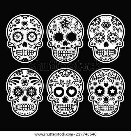 Mexican sugar skull, Dia de los Muertos icons set on black  - stock vector