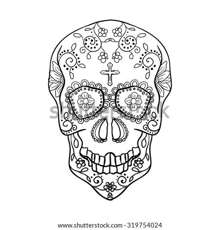 Mexican sugar skull for the Day Of The Dead Skull. Vector tribal illustration.Black contour for coloring book page design.   - stock vector