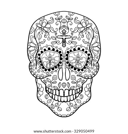 mexican sugar skull for the day of the dead skull vector tribal illustrationblack - Day Of The Dead Coloring Book