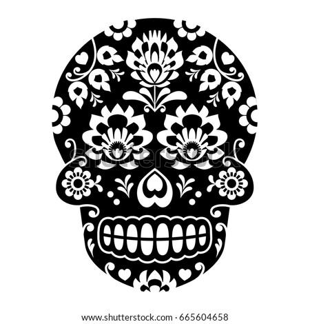 mexican sugar skull halloween skull with flowers polish folk art wycinanki style - Mexican Halloween Skulls
