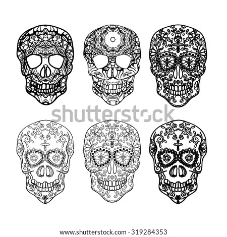Mexican Sugar Skull Set Day Dead Stock Vector (Royalty Free ...