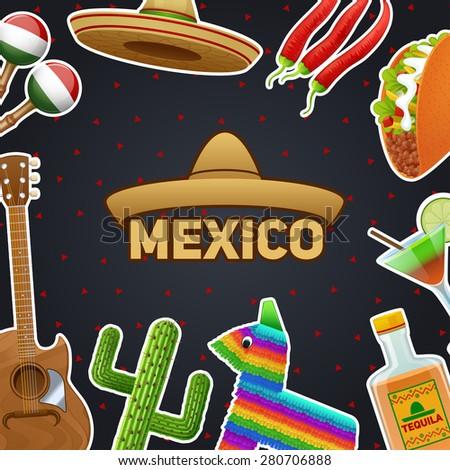 Mexican symbols and sombrero chili taco tequila poster vector illustration - stock vector