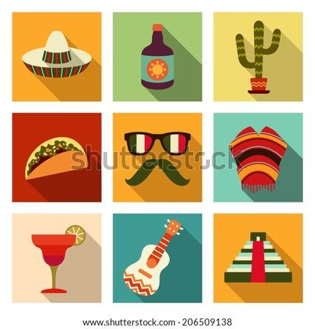 Mexican theme flat icon set - stock vector