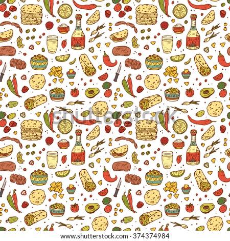 Mexican tradition Food Vector Seamless pattern. Hand drawn doodle Tequila, corn tortilla, taco, burritos, guacamole, nachos corn chips, Vegetables - stock vector