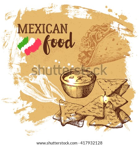 Mexican traditional food background. Hand drawn sketch vector illustration. Vintage Mexico cuisine banner - stock vector