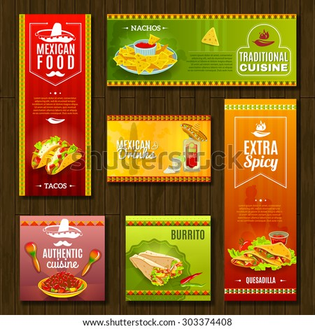 Mexican traditional food cafe restaurant and bar flat bright color banner set isolated vector illustration - stock vector