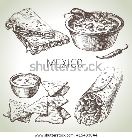 Mexican traditional food. Hand drawn sketch vector illustration. Vintage Mexico cuisine set - stock vector