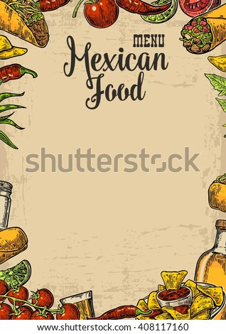 Mexican traditional food restaurant menu template with spicy dish. burrito, tacos, chili, tomato, nachos, tequila, lime. Vector engraved illustration on old paper texture background. - stock vector