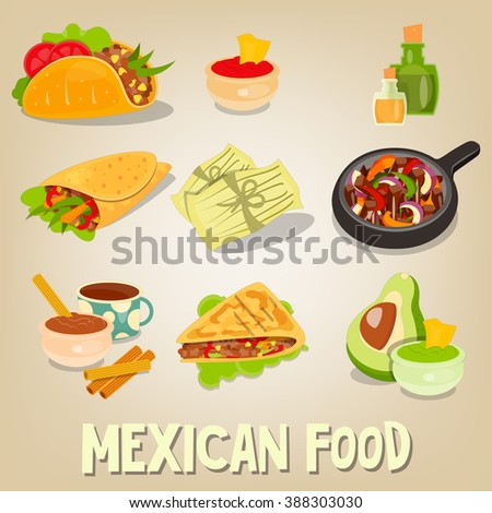 Mexican Traditional Food Set. Vector Illustration. - stock vector