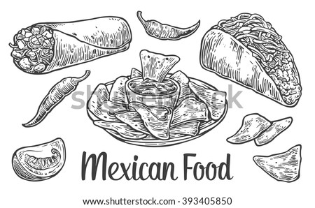Mexican traditional food set with text message, burrito, tacos, chili, tomato, nachos. Vector vintage engraved illustration for menu, poster, web. Isolated on white background. - stock vector