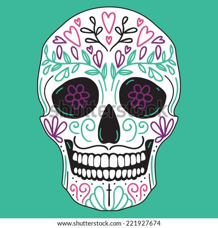 Mexican vector simple white sugar skull with floral decoration on turquoise background - stock vector