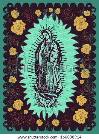 Mexican Virgin of Guadalupe - vintage silkscreen style poster - stock vector