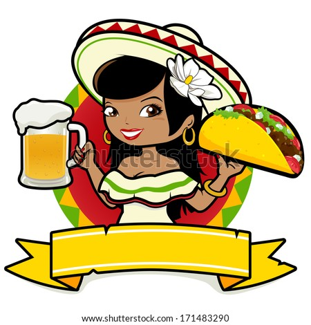 Mexican woman holding a cold beer and taco - stock vector