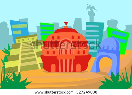 Mexico Abstract Skyline City Skyscraper Silhouette Flat Colorful Vector Illustration - stock vector