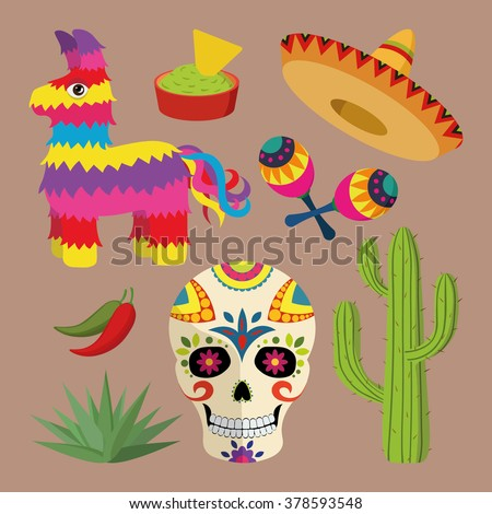 Mexico bright icon set with national mexican objects: sombrero, skull, agave, cactus, pinata, jalapeno peppers, maracas, guacamole and nacho chips isolated on brown background, vector illustration - stock vector