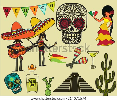 Mexico Clip Art and Symbols - Cartoon style illustration of Mexican symbols, including Mariachi band, tequila, Mexican senorita, calaveras and maracas  - stock vector
