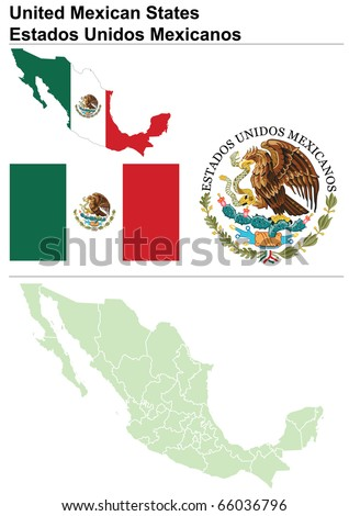 Mexico collection including flag, map (administrative division), symbol & coat of arms - stock vector