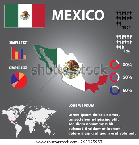Mexico Country Infographics Template Vector