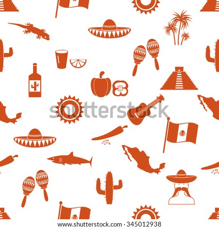 Mexico country theme symbols icons seamless pattern eps10