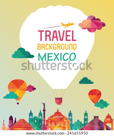 Mexico famous landmarks skyline. Vector illustration - stock vector