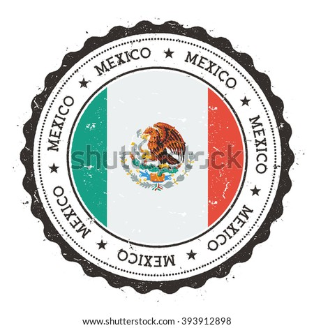Mexico flag badge. Grunge rubber stamp with Mexico flag. Vintage travel stamp with circular text, stars and Mexico flag inside it. Vector illustration.