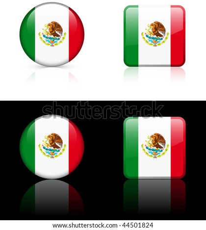 Mexico Flag Buttons on White and Black Background Original Vector Illustration - stock vector