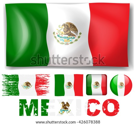 Mexico flag in different design illustration