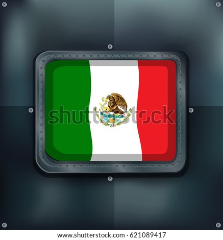 Mexico flag in metal frame illustration
