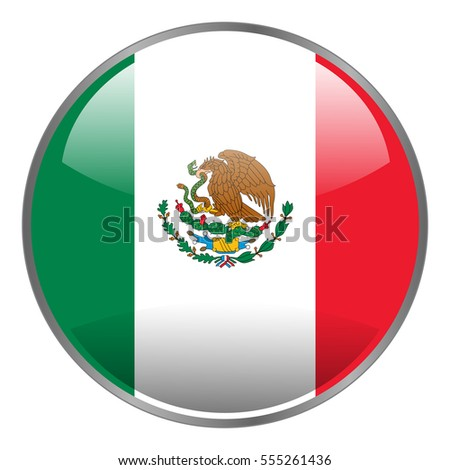 mexico flag round glossy isolated vector stock vector 555261436 rh shutterstock com