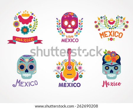 Mexico flowers, skull and food elements. Vector illustration - stock vector