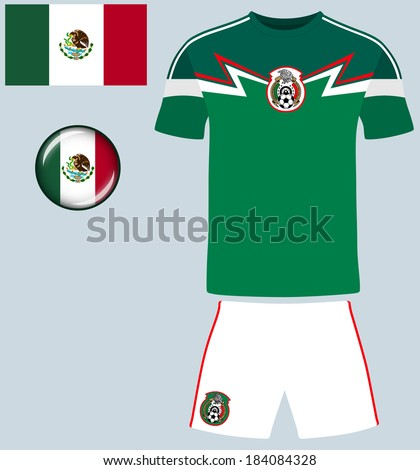 Mexico Football Jersey. Abstract vector image of the Mexican football team kit, along with flag and icon. - stock vector