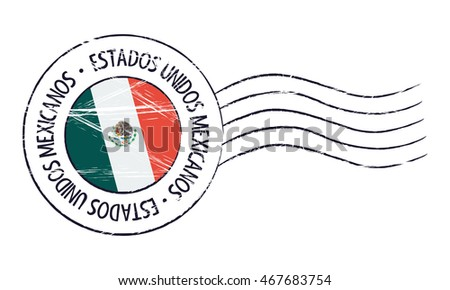 Mexico grunge postal stamp and flag on white background