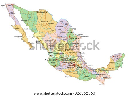 Mexico - Highly detailed editable political map with labeling. - stock vector