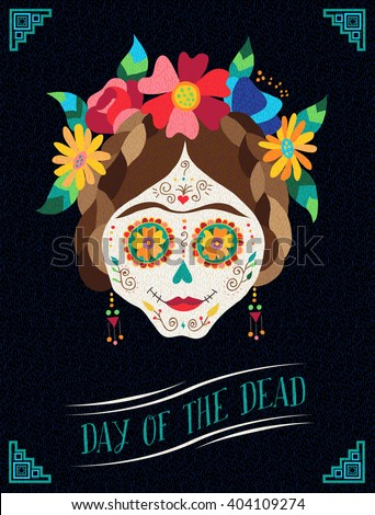 Mexico holiday poster design day of the dead illustration art, traditional painted skull with floral decoration. EPS10 vector. - stock vector