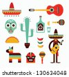 Mexico icons - stock vector