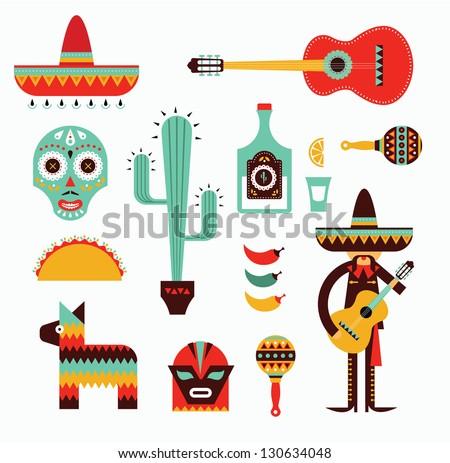 Mexico icons - stock vector