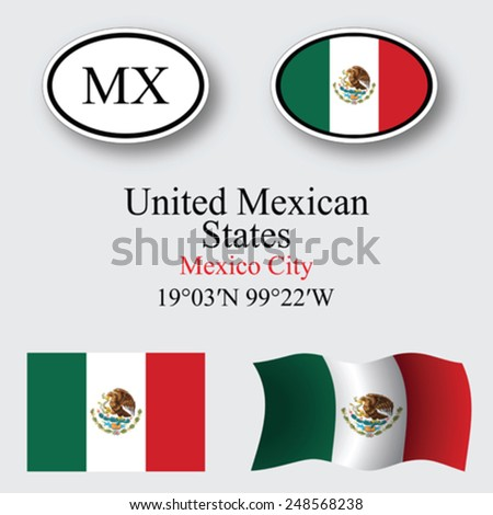 mexico icons set against gray background, abstract vector art illustration, image contains transparency - stock vector