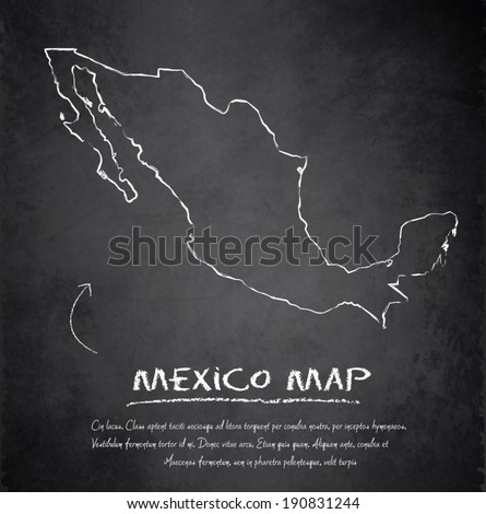 Mexico map blackboard chalkboard vector - stock vector