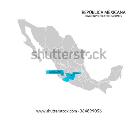 Mexico Map Estado De Michoacan Stock Vector Shutterstock - Michoacan mexico map
