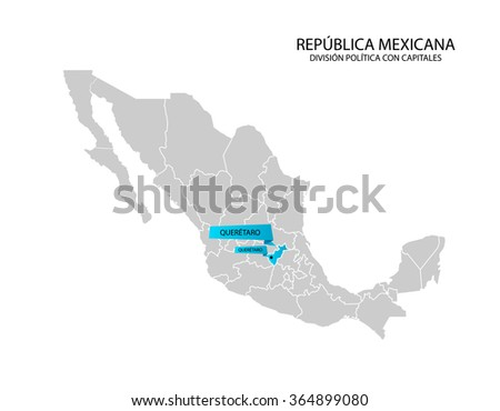 Mexico Map Estado De Queretaro Stock Vector 364899080 Shutterstock