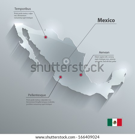 Mexico map flag glass card paper 3D vector  - stock vector