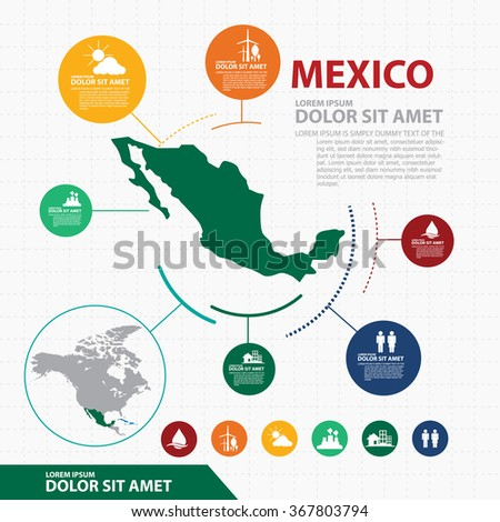 mexico map infographic - stock vector