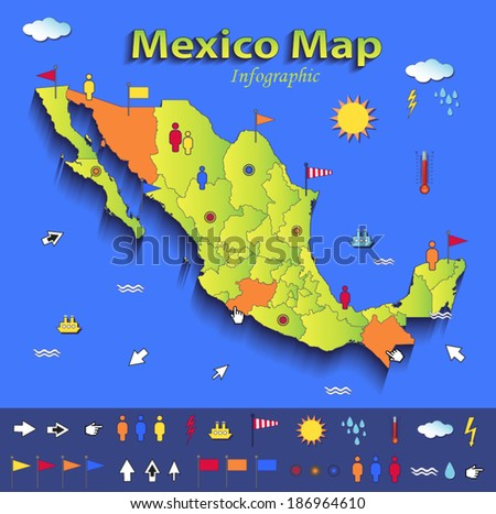 Mexico map infographic political map blue green card paper 3D vector individual states  - stock vector