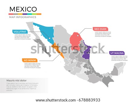 Mexico Map Infographics Vector Template Regions Stock Vector
