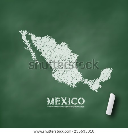 Mexico map on chalkboard green in vector format - stock vector