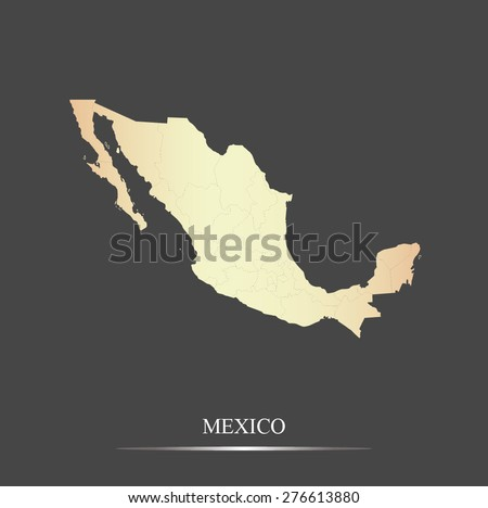 Mexico map outlines in an abstract black and white design, vector map of Mexico in a grey background - stock vector