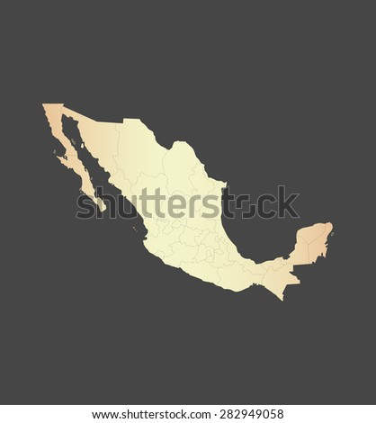 Mexico map vector, Mexico map outlines in a new contrasted design with a gradient of light color and a grey background - stock vector