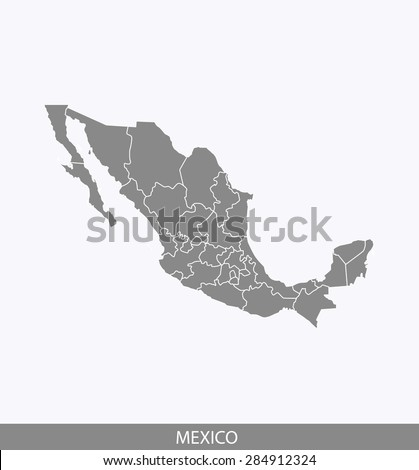 Mexico map vector, Mexico map outlines in contrasted grey background for brochure design and science and publication uses - stock vector