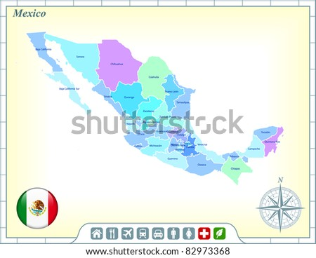 Mexico Map with Flag Buttons and Assistance & Activates Icons Original Illustration - stock vector